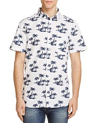 Sovereign Code Ky Palm Tree Regular Fit Button Down Shirt White Navy