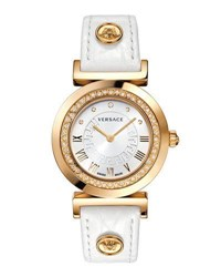 Versace 35Mm Vanity Round Watch W Diamond Bezel And Leather Strap Golden White