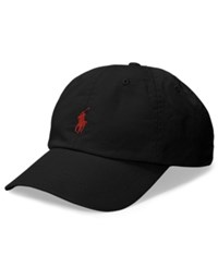 Polo Ralph Lauren Men's Big And Tall Cotton Chino Sports Cap Black Rl Red