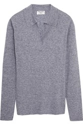 Frame Ribbed Wool Blend Sweater Light Gray