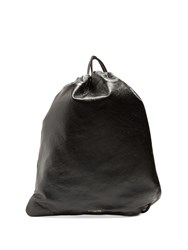 Balenciaga Arena Leather Drawstring Backpack Black