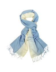 Forzieri Two Tone Pashmina And Silk Fringed Shawl Light Blue
