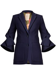 Roksanda Ilincic Alleyn Single Breasted Bow Sleeved Cotton Jacket Navy