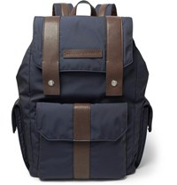 Brunello Cucinelli Leather Trimmed Canvas Backpack Navy