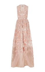 Elie Saab Embroidered A Line Gown Light Pink