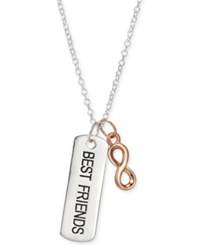 Unwritten Two Tone Best Friends Bar And Infinity 18 Pendant Necklace In Sterling Silver And Rose Gold Flash Silver Rose Gold