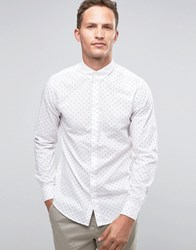 Selected Homme Long Sleeve Smart Shirt With Button Down Collar With Allover Print White