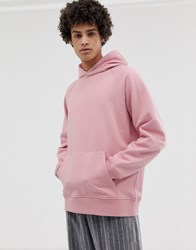 Asos White Oversized Hoodie In Heavyweight Pink Jersey