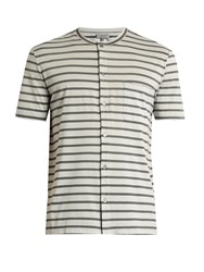 Lanvin Striped Button Through Cotton T Shirt Grey Multi