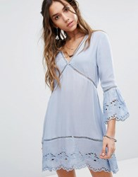 Kiss The Sky Tea Dress With Broderie Trims Light Blue