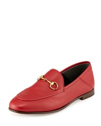 Gucci Leather Horsebit Loafer Hibiscus Red Women's Size 40.0B 10.0B