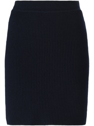 Helmut Lang Knitted Mini Skirt Blue