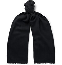 Tom Ford Logo Embroidered Cashmere Silk And Wool Blend Twill Scarf Navy