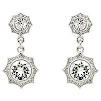 Cachet Becka Swarovski Crystal Drop Earrings Silver