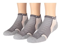 Thorlos Experia Micro Mini 3 Pair Pack Greyhound Grey Low Cut Socks Shoes Metallic