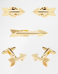 Asos Tie Bar Collar Tip And Cufflink Set Gold