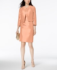 Le Suit Shiny Flyaway Jacket And Sheath Dress Regular And Petite Coral