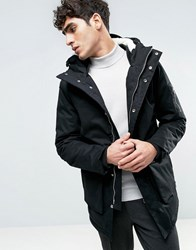 Bellfield Borg Lined Parka With Fish Tail Black