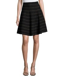 Carmen Carmen Marc Valvo Metallic Stripe Flare Party Skirt Black Gold