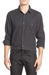 7 For All Mankind Trim Fit Cotton Flannel Shirt Heather Charcoal