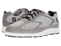 Footjoy Superlite Spikeless Engineered Mesh Light Grey Black Trim White Golf Shoes Gray