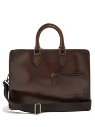 Berluti 2 Jours Leather Briefcase Brown