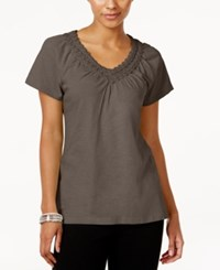 Jm Collection Cotton Crochet Trim Top Only At Macy's Brown Clay