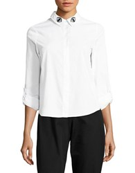 Noisy May Embroidered Button Front Shirt Bright White