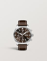Iwc Iw377717 Pilot Stainless Steel And Leather Watch