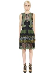Alberta Ferretti Floral Printed Silk Chiffon And Lace Dress