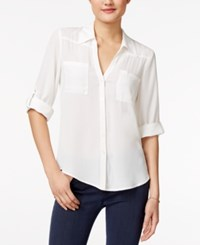 Amy Byer Bcx Juniors' Roll Tab Blouse Off White