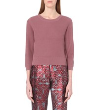 Dries Van Noten Jahan Cropped Knitted Jumper Pink Blush