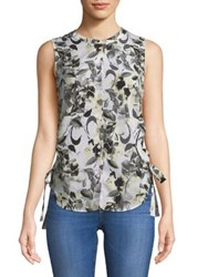 Ellen Tracy Sleeveless Floral Button Down Blouse Ava Blooms