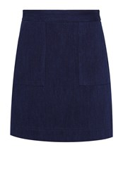 Hallhuber A Line Denim Skirt Navy
