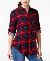 Polly And Esther Juniors' Back Graphic High Low Button Front Plaid Shirt