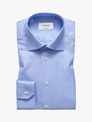 Eton Micro Dogtooth Twill Shirt Blue