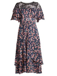 Rebecca Taylor Tea Rose Lace Yoke Silk And Cotton Blend Dress Pink Navy