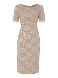 Shubette Illusion Cropped Lace Dress Beige