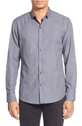 Zachary Prell 'Rudy' Regular Fit Long Sleeve Check Sport Shirt Charcoal Solid