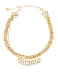 Lydell Nyc Multi Chain Choker Necklace W Crystal Drops