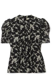 Co Floral Print Gabardine Top Black