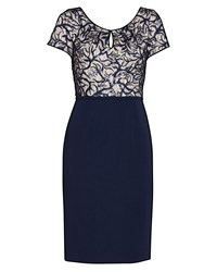 Gina Bacconi Embroidered Sequin Bodice Dress Navy