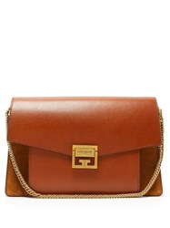 Givenchy Gv3 Medium Suede And Leather Shoulder Bag Tan