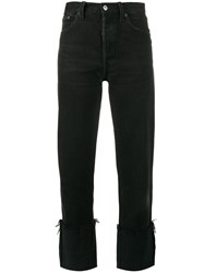 Re Done High Rise Straight Leg Jeans With Turned Up Cuffs Black