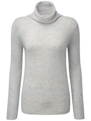 Pure Collection Carla Cashmere Polo Neck Jumper Iced Grey