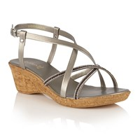 Lotus Merida Strappy Wedge Sandals Pewter