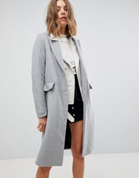Stradivarius Longline Smart Coat Grey