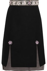 Holly Fulton Embellished Wool Blend Boucle And Silk Organza Skirt Black