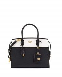 Prada Esplanade Medium Bicolor City Satchel Bag Black White Nero Bianco Red