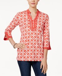 Charter Club Iconic Print Tunic Only At Macy's Coral Bloom Combo